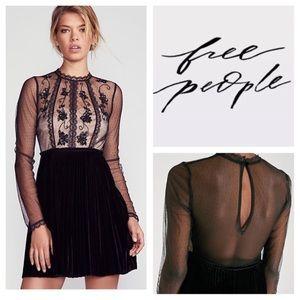 Free People Velvet Dress w/ Sequined Mesh